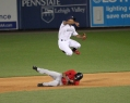Barfield gives the double play a try. - Cheryl Pursell