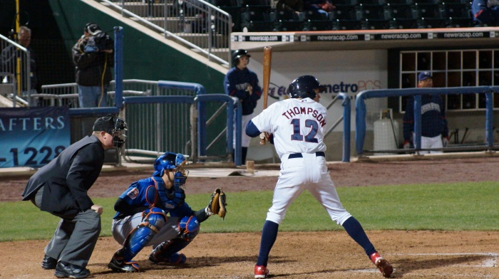 Rich Thompson is hit by a pitch in the bottom of the 4th. (DiPro Photo 2012)