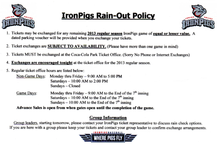 2013 IronPigs Rain-out Policy