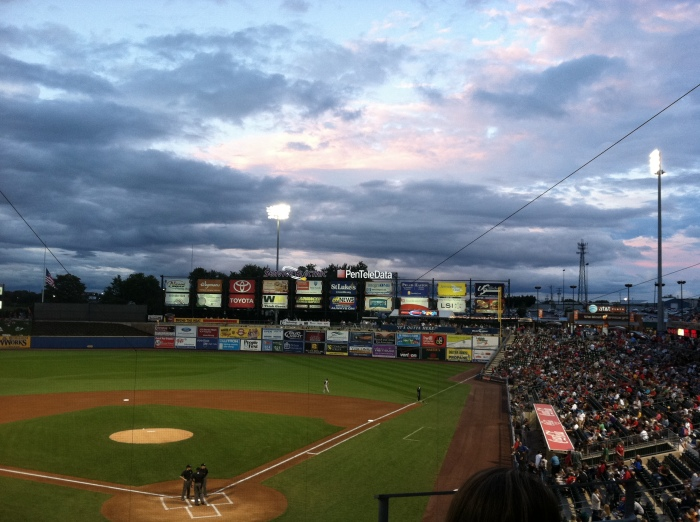 View of the Evening Sky from the Club Level at Coca Cola Park. Photo (c) Kram209