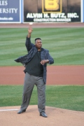 Larry Holmes throws out the first pitch of the season!