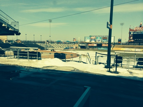 Stadium from the Store Window.  Photo: @Kram209