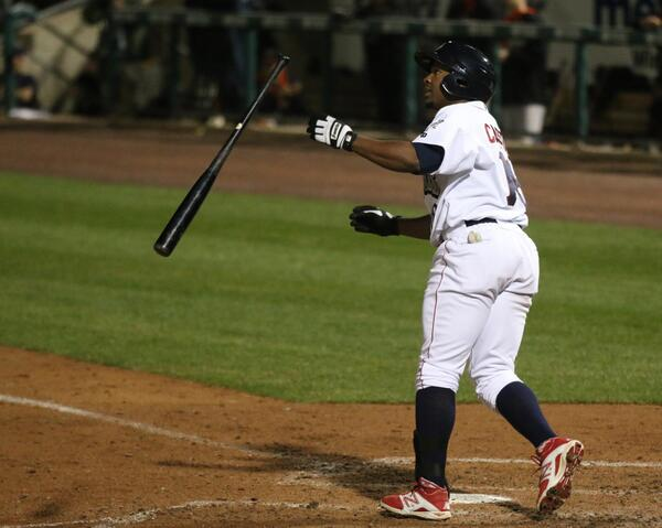 Leandro Castro with the long ball--and the bat flip.  From 2014. Photo: Cheryl Pursell