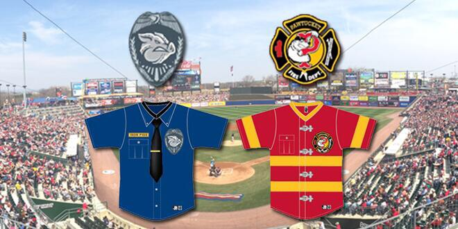 Uniforms for the Police and Firefighters Night.  Photo credit:  IronPigs