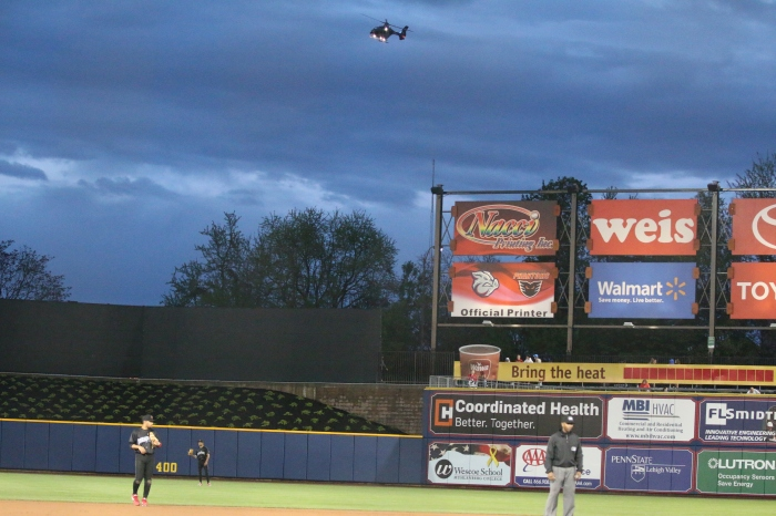Not even the SWAT helicopter could extract Brad Lincoln from the three-run first.  Photo: Cheryl Pursell