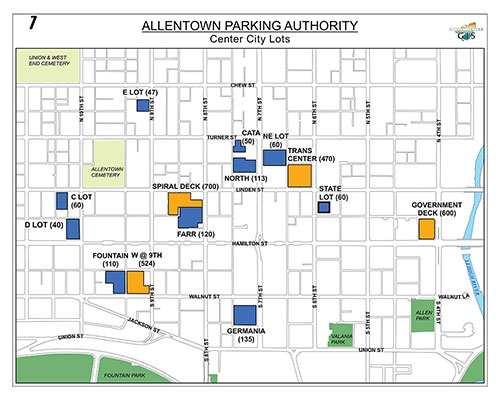 New downtown parking map from the Parking Authority. Some lots are mysteriously missing--others have been sacrificed for development and construction of further buildings.