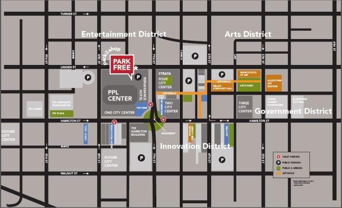 shopping downtown parking map