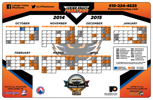 Magnet Schedule to be given out to ALL fans at Saturday's Phantoms game