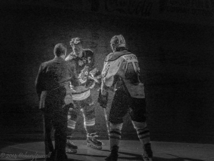 Zack Stortini out for the puck drop by Phantoms' legend Bill Barber prior to a recent game. Photo: Cheryl Pursell