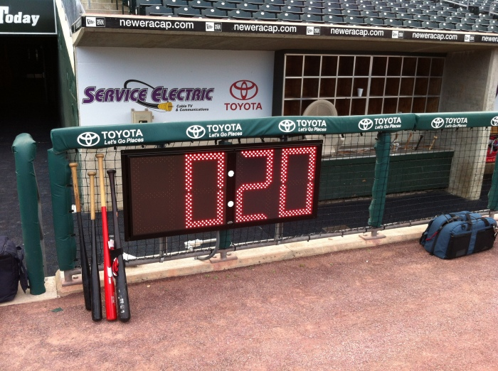 Pitch clock on the 'Pigs dugout.  Photo: NoiseNation Dan