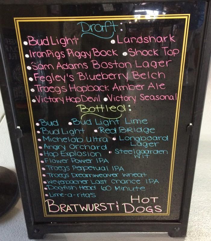 The beer menu for the Biergarten.  Photo: Kram