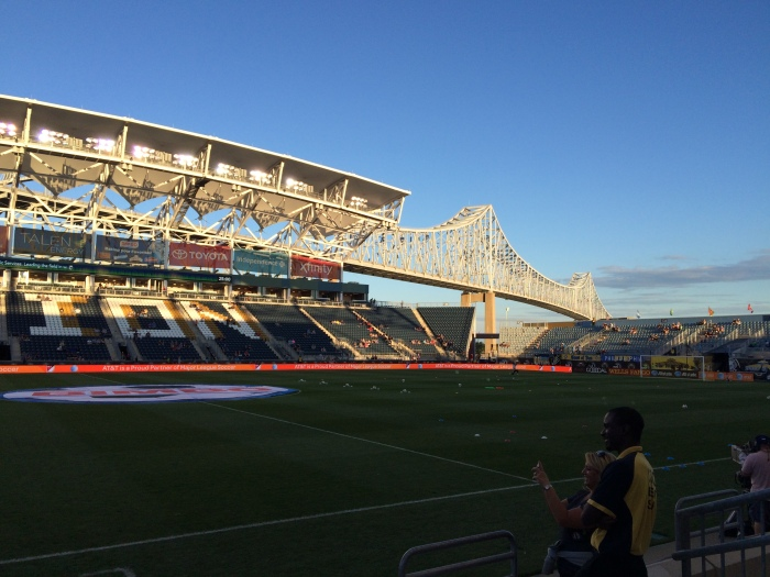 Pre-Game View of the Commodore Barry Bridge, from our seats.  Photo: Kram