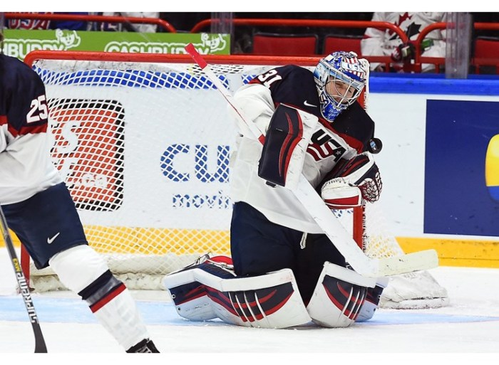 ​United States goaltender Alex Nedeljkovic, who plays for the OHL's Niagara IceDogs in the Canadian junior system, has turned away 54 of 58 shots faced thus far at the 2016 IIHF World Junior Championships in Helsinki, Finland ... photo courtesy Matt Zambonin / HHOF-IIHF Images