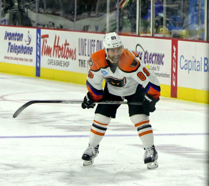 It's not the NHL, but Gagne looks like he's having fun anyway.  Photo: Cheryl Pursell