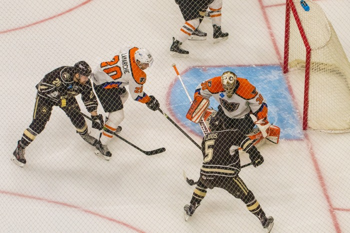 and Lamarche protecting the net. Photo: Jack Mitroka