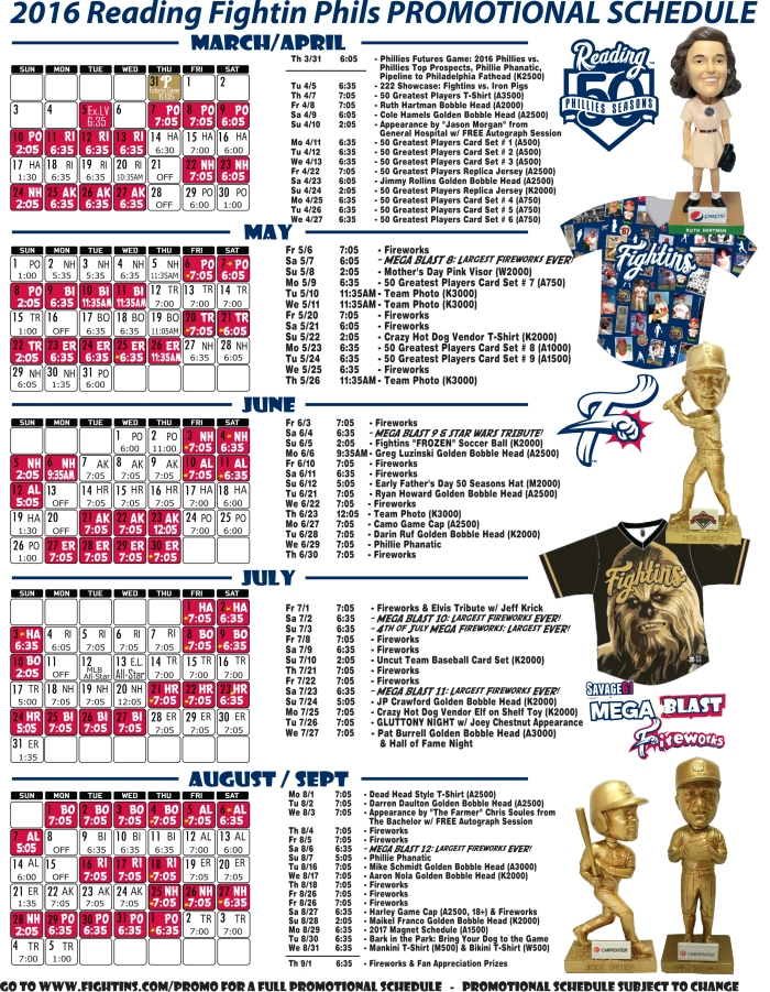 2016 Mini Pl Fightins Promotional Schedule
