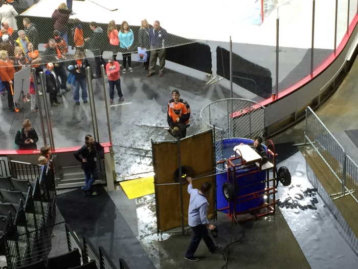 View of the dunk tank and Cole Bardreau last year, from section 201. Photo: Kram