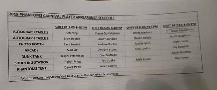 Photo of the schedule, held by a Phantoms employee courtesy of FaceBook STH fan group.