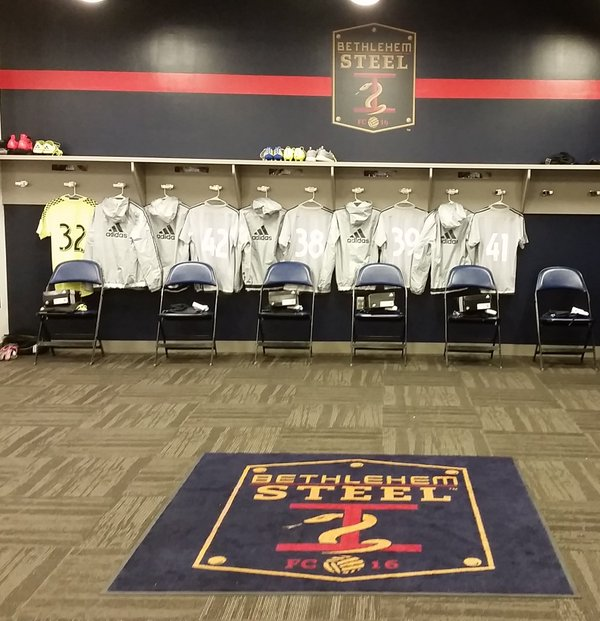 The locker room for today's Steel FC match versus Syracuse, in Chester. Photo: Brandon Comisky, Union Equipment Manager