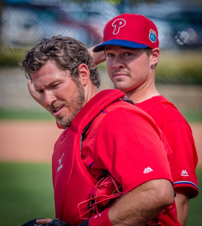 Arencibia and Knapp. Photo: Cheryl Pursell