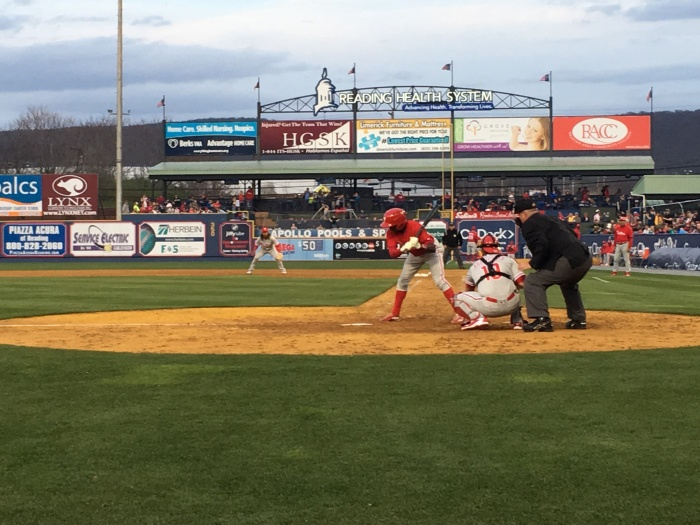 """Quinn looks at a pitch, as seen from the """"Kram Seats"""" at the Phillies Future game.  Photo: Kram (iPhone)"""