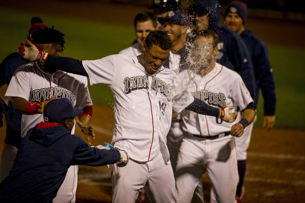 Williams gets the walk-off treatment.  Photo: Cheryl Pursell
