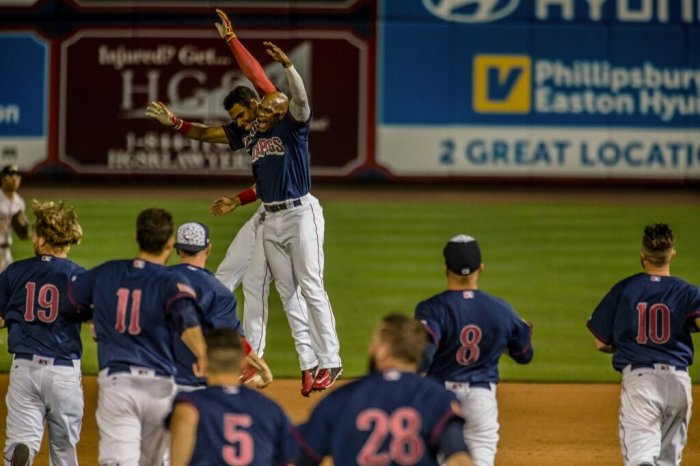 "The walk-off Sunday Night: ""Make the IronPigs great again."" Photo: Cheryl Pursell"