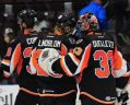 Oskar Lindblom netted two goals and added five assists in only eight American Hockey League games at the tail end of last season but the Lehigh Valley Phantoms will have to wait until at least this coming spring before the talented Swedish winger can augment those scoring totals ... (photo courtesy Paul Leger / Twitter)