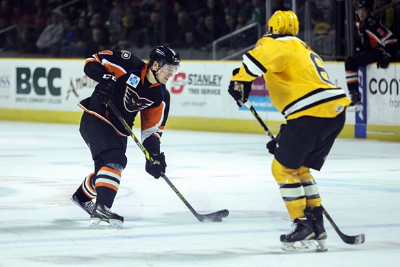 "Lehigh Valley Phantoms defenseman Robert Hagg (# 4) is said to be a solid two-way performer whose reputation probably suffers because he does not have any dominant traits to distinguish his game ... (photo courtesy ""Hockey's Future"" website)"
