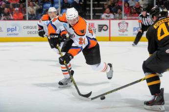 """Lehigh Valley Phantoms winger Petr Straka (# 24) was signed to a new one-year, two-way contract paying $ 90,000 for American Hockey League service by the Philadelphia Flyers organization this past summer but must rebound from a season-ending slump which saw the former 2nd round NHL Draft choice of the Columbus Blue Jackets score just two goals in his last   twenty-six AHL games ... (photo courtesy """"Our Sports Central"""" website)"""