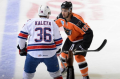 """Lehigh Valley Phantoms left wing Tyrell """"One-Punch"""" Goulbourne highlights a very limited number of forwards on the official American Hockey League roster of the Hamilton Street Heroes who happen to weight two hundred pounds or more and still figures to be somebody whom wise opponents will not want to tangle with too often this season ... (photo courtesy """"Our Sports Central"""" website)"""