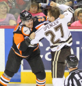 Now that punishing right wing Derek Mathers (# 29) is no longer on the AHL roster of the Lehigh Valley Phantoms, it remains to be seen who would restore order if the intra-state arch-rival Hershey Bears decide to get out of hand at some point during the long season ..... (photo courtesy Kyle Mace / Chocolate Hockey)