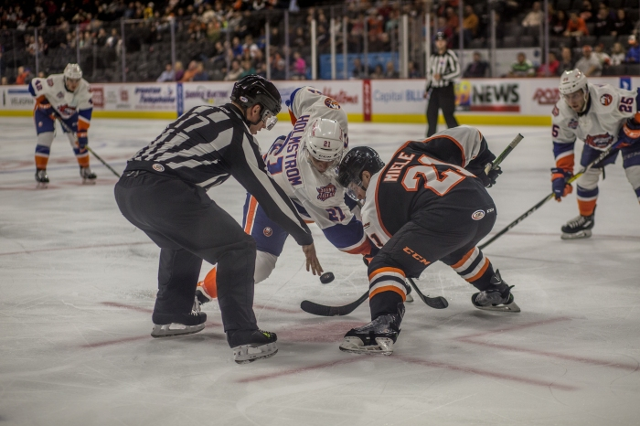 Miele takes the face. Will probably miss tonight's game. Photo: Cheryl Pursell
