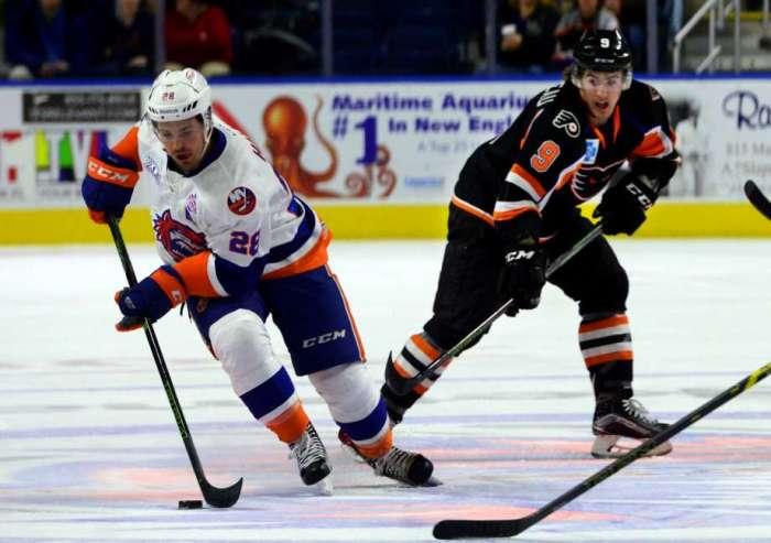 "Lehigh Valley Phantoms forward Cole Bardreau (# 9), the versatile center / right wing from Cornell University now in his second full season as a professional player, was completely powerless to prevent the Hamilton Street Heroes from falling to the Bridgeport Sound Tigers for the third time in as many meetings thus far this term ..... (photo courtesy Christian Abraham / ""Ct Post"" website)"