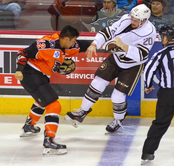 "Although extremely popular with many of the PPL Center faithful for being unofficially unbeaten in every single American Hockey League fight to date, Lehigh Valley Phantoms winger Tyrell Goulbourne (# 12) is pointless in six games played so far this season and could be unsuited for this brave new highly technical world the Hamilton Street Heroes now find themselves skating in ..... (photo courtesy ""Chocolate Hockey"" website)"