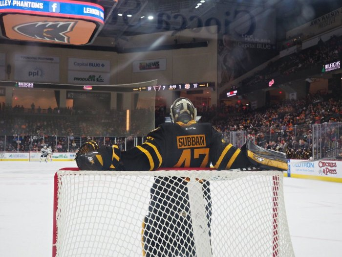 Providence Bruins goaltender Malcolm Subban (# 47), the former first round National Hockey League Draft pick of the Boston Bruins in 2012 who is now in his fourth full year as a professional but still has only made just two NHL appearances in his career and has never played in an AHL All-Star Game to date, had to have enjoyed his particular view of the lopsided action action at the PPL Center in Allentown on Saturday night ... (photo courtesy Nina Weiss / Nina Weiss Photography)