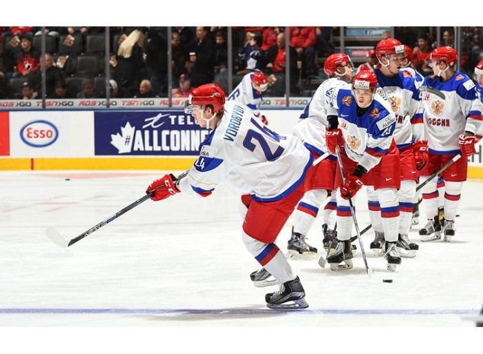 Russia center Mikhail Vorobyov (# 24) finished in a three-way tie for fourth place on the scoring chart with 10 points at this year's IIHF World Junior Championship in Canada and would certainly be a useful addition to a Lehigh Valley Phantoms squad which will be attempting to abruptly end the franchise's embarrassing seven-year playoff drought later on this season ..... (photo courtesy Matt Zambonin / HHOF-IIHF images)