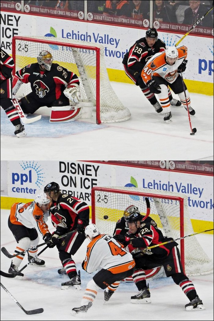 Former Boston University netminder Matt O'Connor (# 29) is effectively absent without leave between the pipes for the Binghamton Senators as Lehigh Valley Phantoms All-Star center Jordan Weal (# 40) buries the puck on a wraparound backhander during the Hamilton Street Heroes' convincing 7-2 triumph at the PPL Center in Allentown last Wednesday night ..... (photo courtesy Nina Weiss / Nina Weiss Photography)